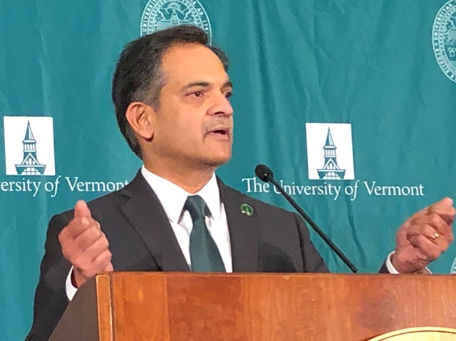 UVM president Suresh Garimella speaking Thursday - MOLLY WALSH