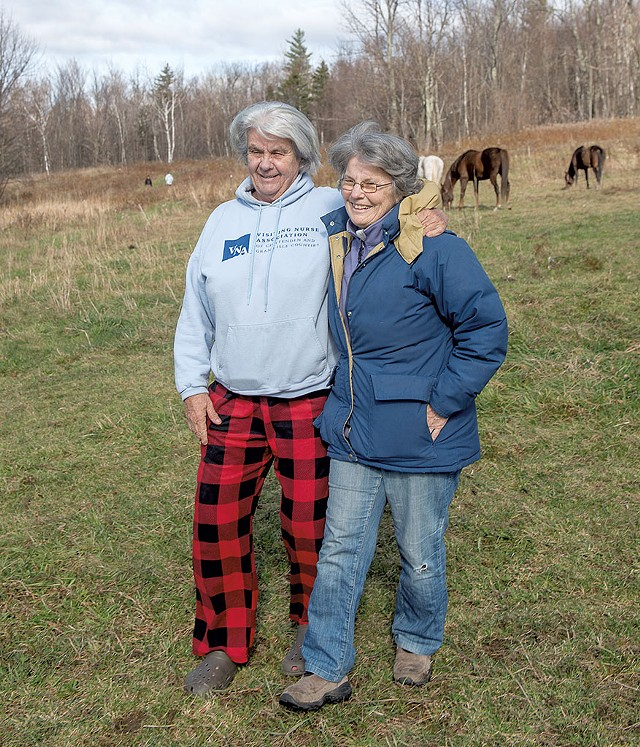 Founding mother Glo Daley and her partner, Susan Smith, on HOWL land - KAREN PIKE