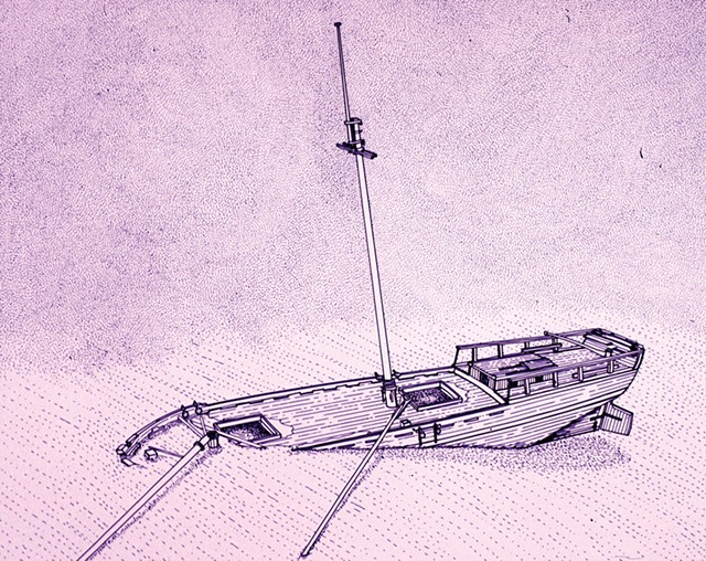 Drawing of the Sarah Ellen at the bottom of Lake Champlain - COURTESY OF KEVIN CRISMAN