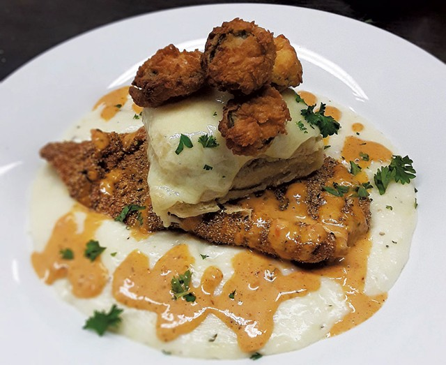 Haddock with cheddar grits at Jeff's Maine Seafood - COURTESY OF JEFF'S MAINE SEAFOOD