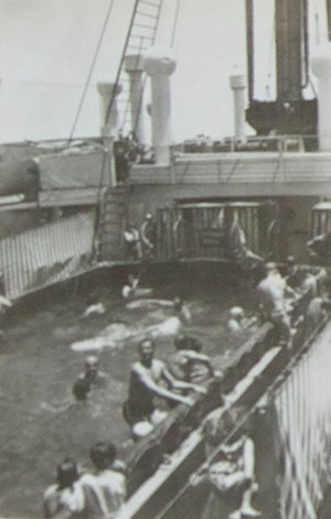 Passengers swim in the ship's pool - COURTESY OF THE KEIBEL FAMILY