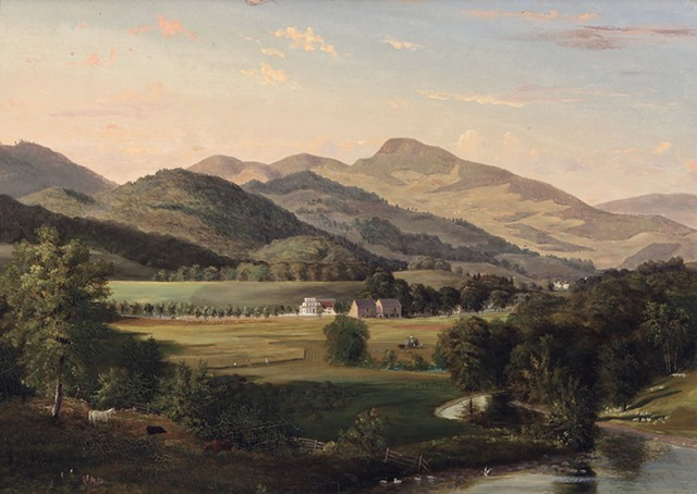 """Wedding Cake House, Iron Furnace Road, Pittsford, Vermont,"" by James Hope,  c. early 1850s - COURTESY OF FLEMING MUSEUM"