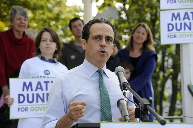 Matt Dunne kicks off his gubernatorial campaign Monday in Barre. - JEB WALLACE-BRODEUR