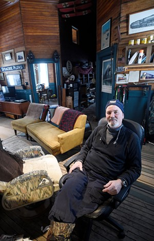 Mark Snyder at his converted train station office in Greensboro Bend - JEB WALLACE-BRODEUR