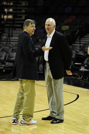 Jack McCallum, left, with San Antonio Spurs head coach Greg Popovich - COURTESY OF JACK MCCALLUM