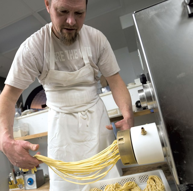 An employee at Mama's Hand Made Italian - FILE: TOM MCNEIL