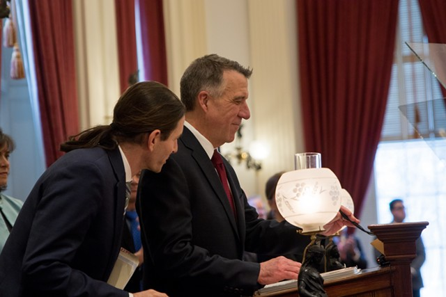Lt. Gov. David Zuckerman and Gov. Phil Scott on Tuesday in the House chamber - COLIN FLANDERS