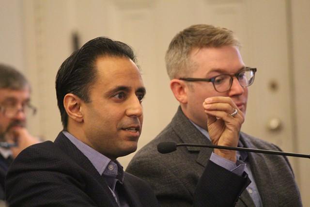 Deepak Malhotra and Michael Luca of Harvard Business School testifying Thursday at the Vermont Statehouse - PAUL HEINTZ
