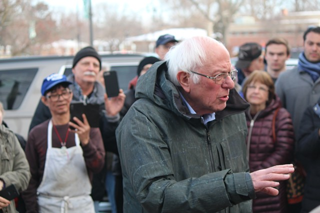 Sen. Bernie Sanders speaking outside a coffee shop in Grinell, Iowa, on Saturday - PAUL HEINTZ