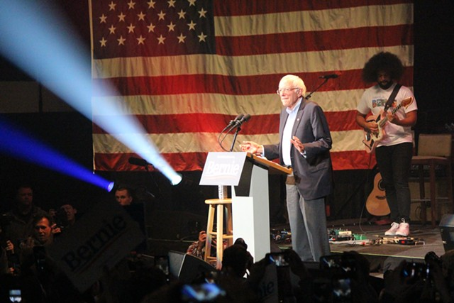 Sen. Bernie Sanders (I-Vt.) campaigning Saturday in Cedar Rapids, Iowa - PAUL HEINTZ