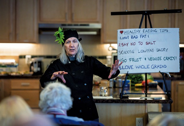 Chef Robin Burnett giving healthy eating tips during a Helping and Nurturing Diverse Seniors workshop at Thayer House in Burlington - GLENN RUSSELL
