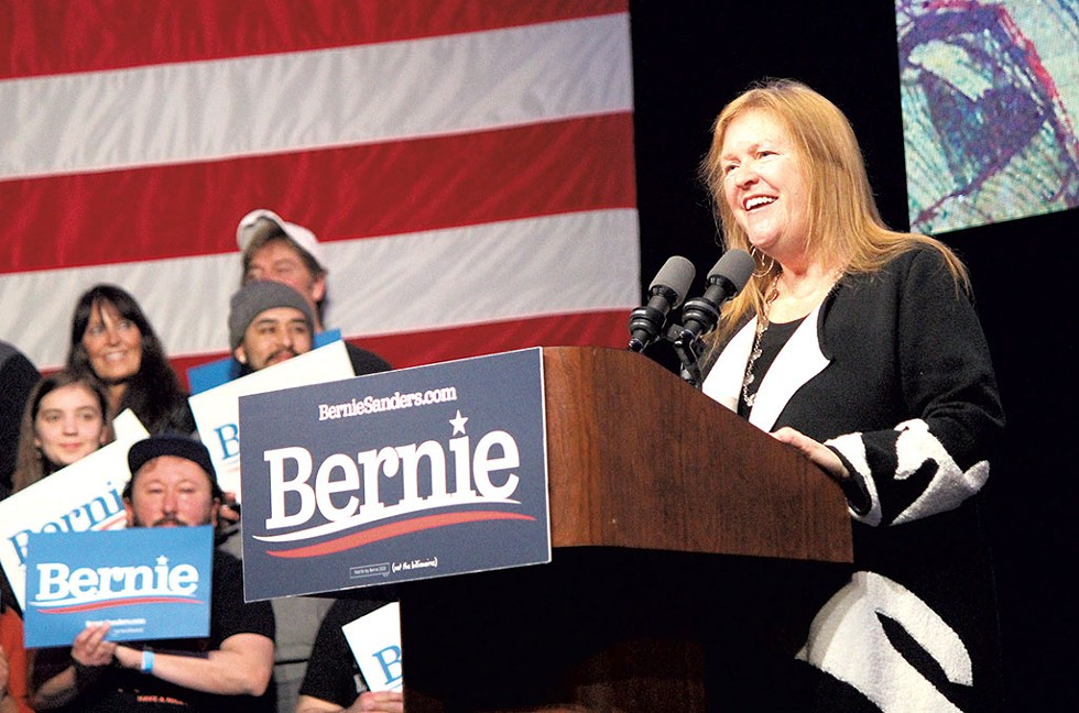 Jane O'Meara Sanders at a rally in Clive - PAUL HEINTZ