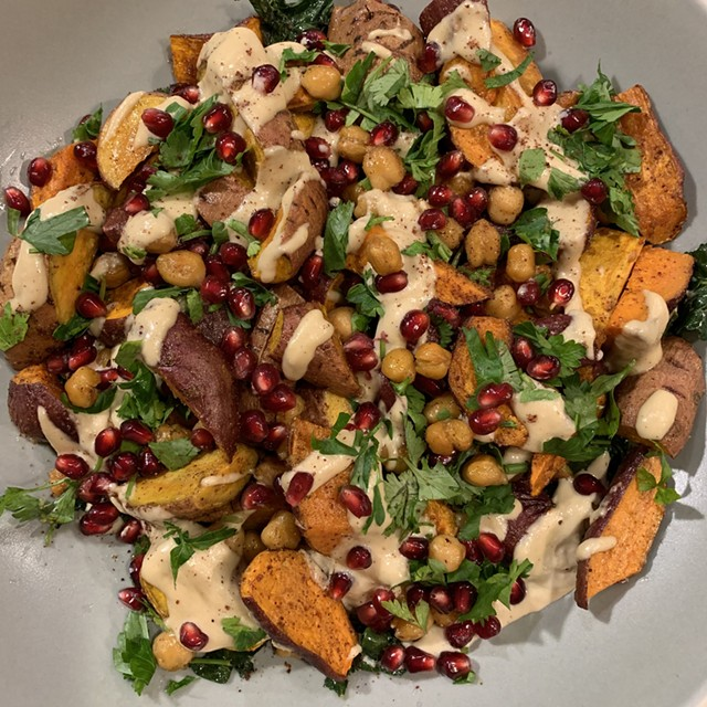 Loaded sweet potatoes with tahini dressing - MELISSA PASANEN