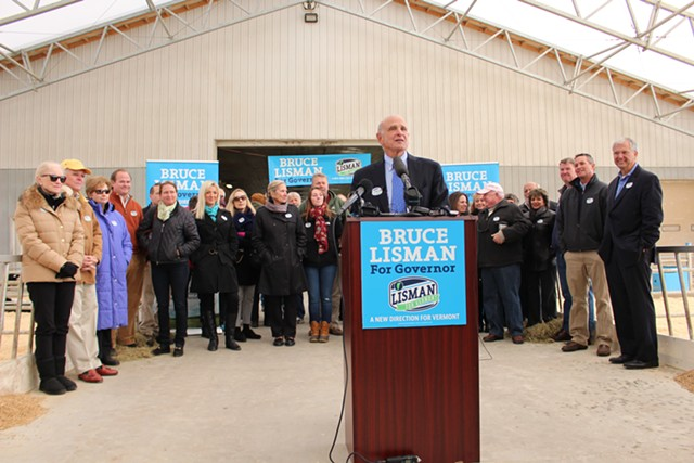 Bruce Lisman kicked off his campaign for governor Monday at Green Mountain Dairy Farm in Sheldon. - PAUL HEINTZ