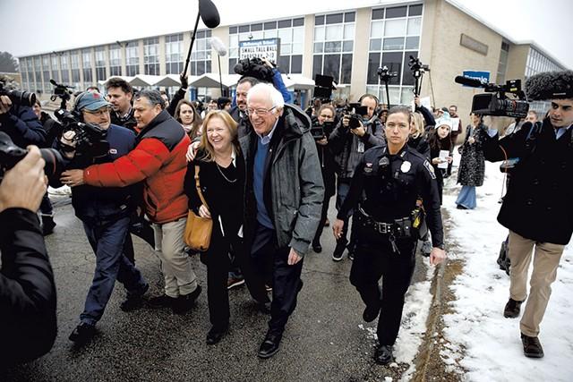 Sen. Bernie Sanders and Jane O'Meara Sanders outside a polling place in Manchester, N.H. - AP PHOTO/MATT ROURKE