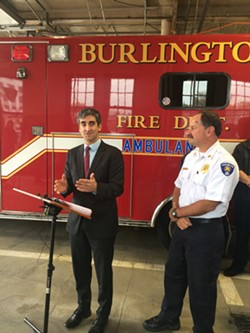 Mayor Miro Weinberger, left, and Fire Chief Seth Lasker  announce a paramedicine program at Station One. - ALICIA FREESE
