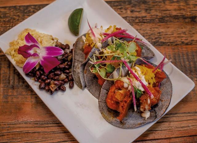 Buffalo cauliflower tacos at Revolution Kitchen in Burlington - FILE: GLENN RUSSELL