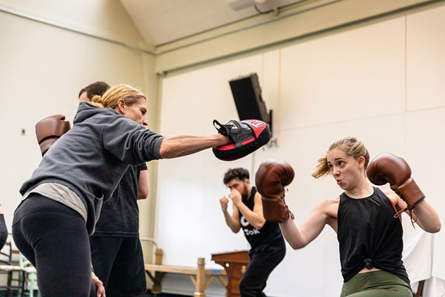 From left: Jennifer Karr and Kerrigan Quenemoen sparring during rehearsals - COURTESY OF DARTMOUTH COLLEGE/SEAMORE ZHU