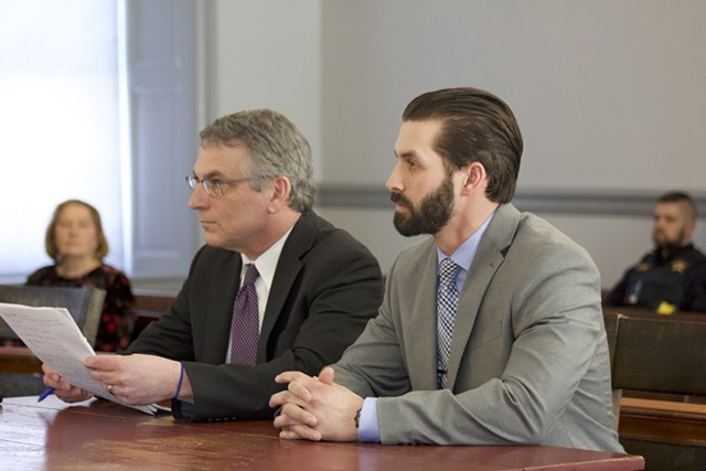 Winooski detective Christopher Matott, right, and attorney Robert Katims, left, in Grand Isle County Courthouse on Feb. 20 - DEREK BROUWER