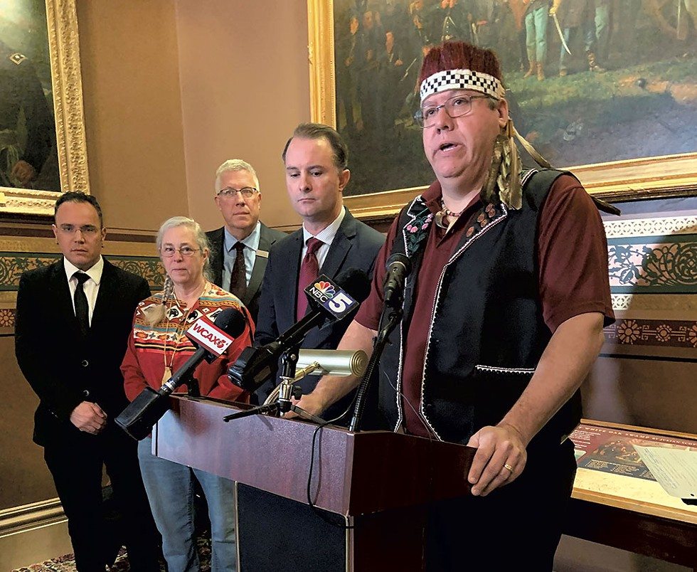 Don Stevens (right) at the February 5 press conference - KEN PICARD