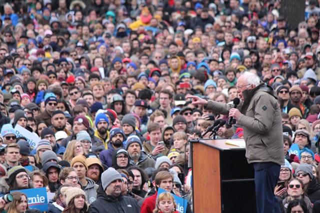 Sen. Bernie Sanders campaigning Saturday on Boston Common in Massachusetts - PAUL HEINTZ