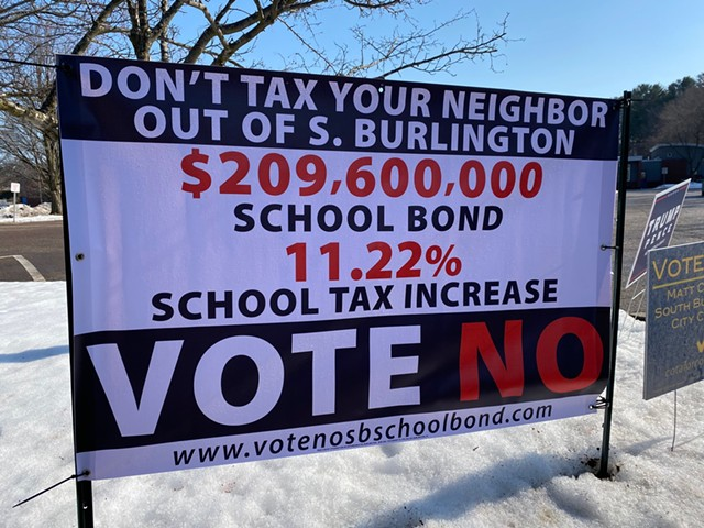A Vote No sign outside of the Orchard School - SASHA GOLDSTEIN