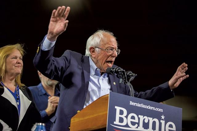 Sen. Bernie Sanders speaking at his Super Tuesday rally in Essex Junction - JAMES BUCK