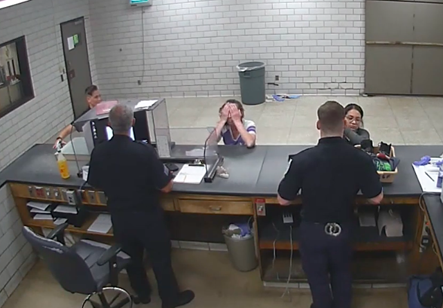 Madelyn Linsenmeir being booked in Springfield, Mass. - SCREENSHOT