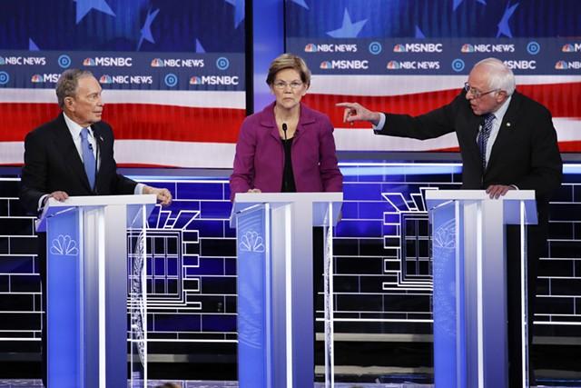 Former mayor Michael Bloomberg, Sen. Elizabeth Warren and Sen. Bernie Sanders debating last month in Las Vegas - ASSOCIATED PRESS