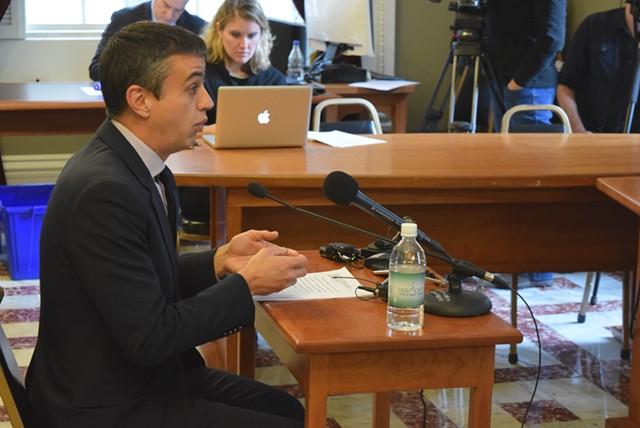 Bill Lofy, Gov. Peter Shumlin's former chief of staff, testifies Tuesday to a Senate committee considering the legalization of marijuana. - TERRI HALLENBECK