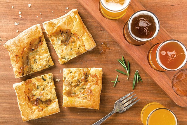 Crop Bistro & Brewery's Helles Brook Lager onion tart - COURTESY OF IDLETYME BREWING COMPANY
