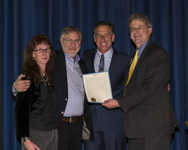 Chard deNiord, new Vermont Poet Laureate, with his wife, Liz, Gov. Peter Shumlin and Vermont Arts Council executive director Alex Aldrich - COURTESY OF VAC/PETER ARTHUR WEYRAUCH