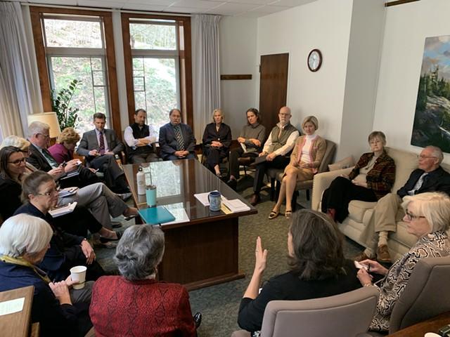 Vermont House leaders meeting in Speaker Mitzi Johnson's office Thursday afternoon - PAUL HEINTZ