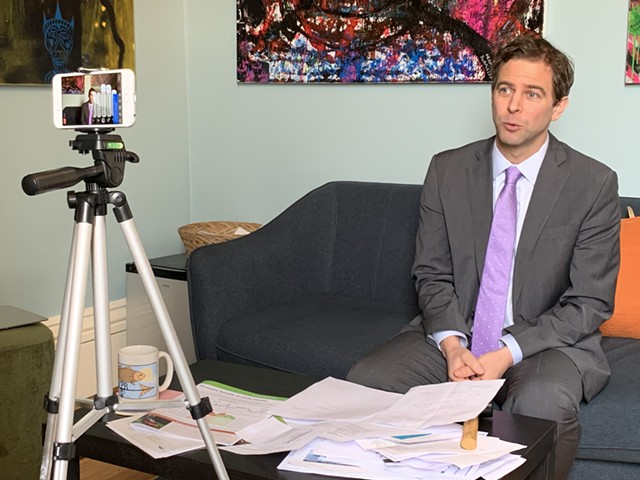 Senate President Pro Tempore Tim Ashe addressing coronavirus concerns Thursday afternoon on Facebook Live - PAUL HEINTZ