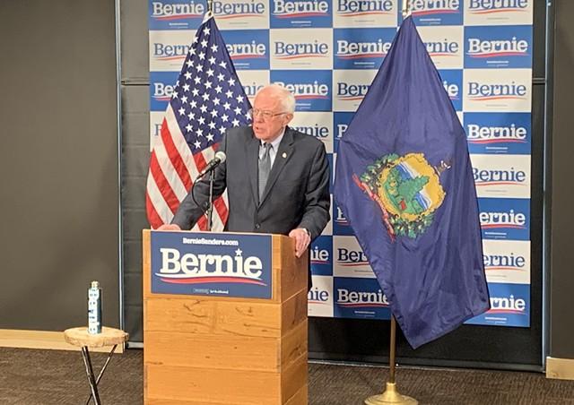 Sanders speaking to reporters Thursday in Burlington - DEREK BROUWER
