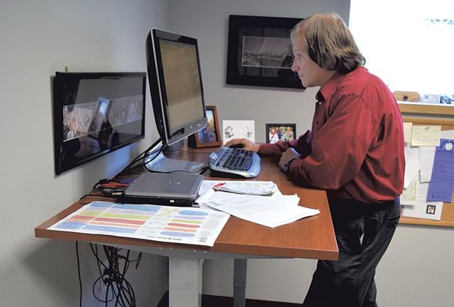 David at work at Vermont Electric Cooperative - TERRI HALLENBECK