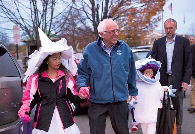 Sen. Bernie Sanders trick-or-treating with his grandchildren in Lebanon, N.H. - COURTESY OF BERNIESANDERS.COM