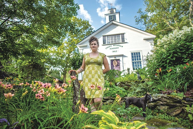 Gardener Jen Kennedy with her dog, Tobias, at home in Underhill - GLENN RUSSELL