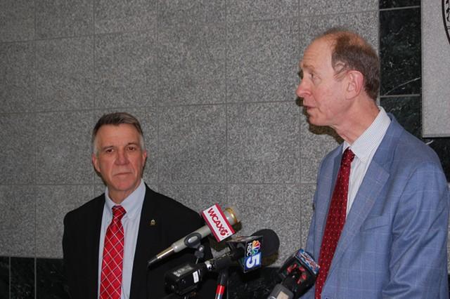 Health Commissioner Mark Levine (right) speaking on Thursday with Gov. Phil Scott - MATTHEW ROY