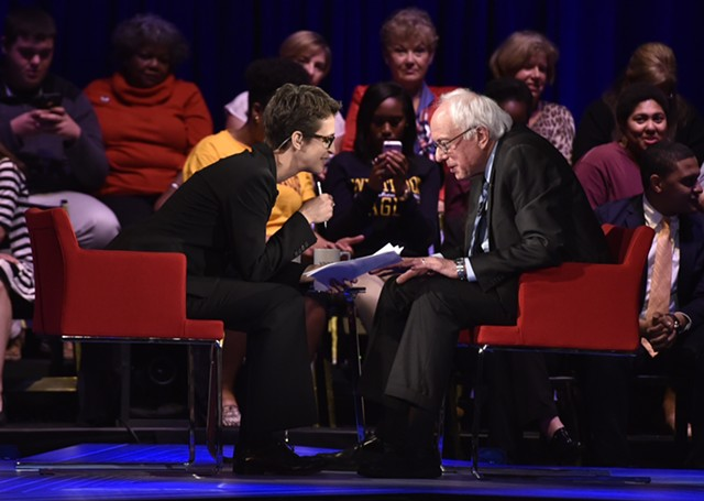 """Rachel Maddow speaks with Bernie Sanders during MSNBC's """"First in the South Democratic Candidates Forum"""" Friday in Rock Hill, S.C. - GRANT HALVERSON/MSNBC"""
