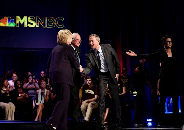 """Hillary Clinton, Bernie Sanders, Martin O'Malley and Rachel Maddow during MSNBC's """"First in the South Democratic Candidates Forum"""" Friday in Rock Hill, S.C. - GRANT HALVERSON/MSNBC"""