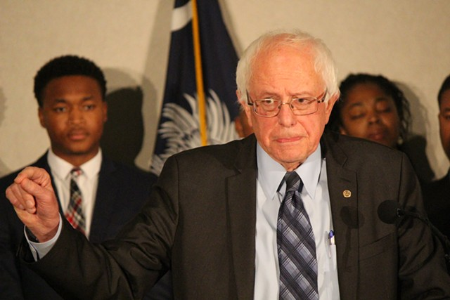 Sen. Bernie Sanders speaks at a press conference Saturday in Columbia - PAUL HEINTZ