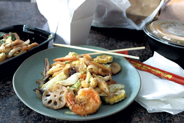 A takeout order of mixed seafood dry pot from the Mandarin Chinese menu at China Max before the restaurant closed temporarily on March 19 - MELISSA PASANEN