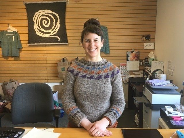 Kelly Otty at Must Love Yarn before the shop closed. - MARGARET GRAYSON