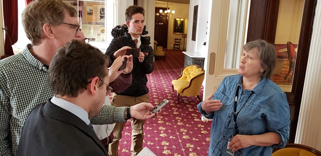 Rep. Cynthia Browning addressing reporters Wednesday - KEVIN MCCALLUM