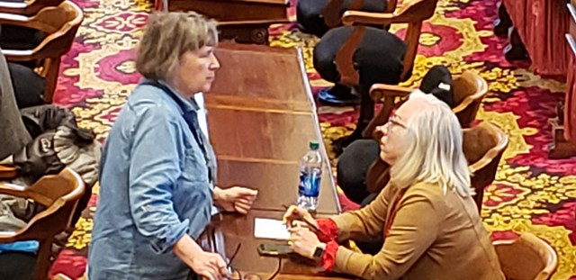 Rep. Cynthia Browning conferring with Rep. Linda Joy Sullivan on Wednesday - KEVIN MCCALLUM