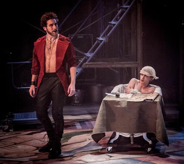 Peter Hiebert as de Sade, left, and Garrett Garcia as Marat - COURTESY OF DOK WRIGHT PHOTOGRAPHY