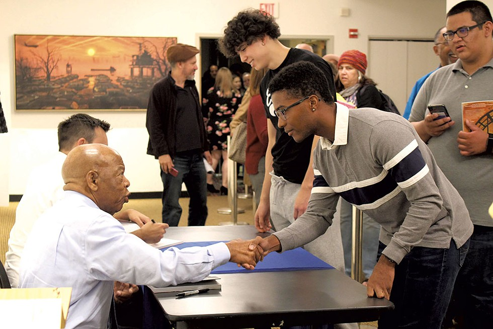 John Lewis signing books at the Flynn on October 7, 2019 - COURTESY OF VERMONT HUMANITIES