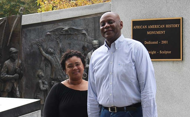 Angela and Aaron Noble at the African American History Monument in Columbia, S.C. - PAUL HEINTZ