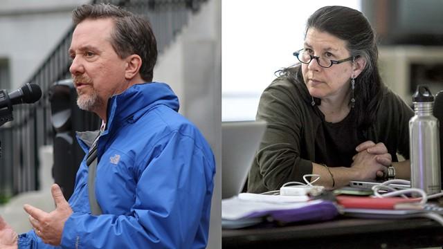 Burlington City Councilor Brian Pine and Liz Curry - FILE: COURTNEY LAMDIN & OLIVER PARINI